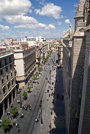 Districts and neighbourhoods of Seville - Avenida de la Constitución, one of the most important streets in the city.