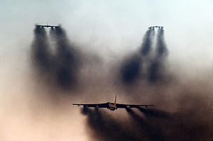 Minimum interval takeoff - Three United States Air Force Boeing B-52G Stratofortresses depart during a minimum interval takeoff exercise at Barksdale Air Force Base in 1986