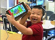 Student learning with tablet