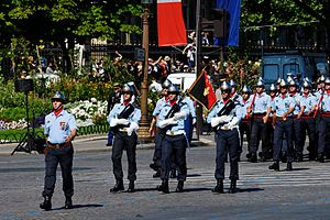 Paris Fire Brigade - Firemen of the Paris brigade, Bastille Day 2008 military parade on the Champs-Élysées, Paris.