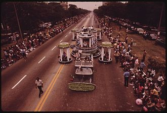 Bud Billiken Parade and Picnic - Chicago Department of Human Resource float in the 1973 parade. Photo by John H. White.
