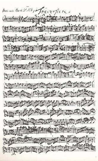 Orchestral suites (Bach) - Bach's autograph of the Traversière part of the second orchestral suite (BWV 1067)