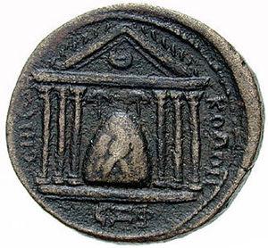 Baetylus - The Emesa temple to the sun god Elagabalus with baetyl at center