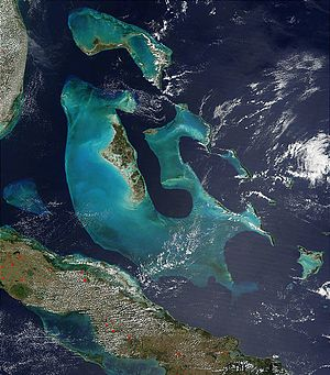 Bahama Banks - The Bahama Banks: Little Bahama Bank in the north and Great Bahama Bank in the south. The Cay Sal Bank is also visible.