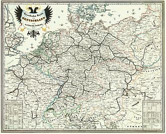 Warsaw–Vienna railway - Railways in Germany and Neighbouring Countries in 1849; bold lines = working, narrow lines = projected or in construction