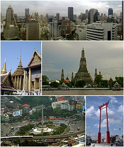 A composite image, the top row showing a skyline with several skyscrapers; the second row showing, on the left, a Thai temple complex, and on the right, a temple with a large stupa surrounded by four smaller ones on a river bank; and the third rowing showing, on the left, a monument featuring bronze figures standing around the base of an obelisk, surrounded by a large traffic circle, with an elevated rail line passing in the foreground, and on the right, a tall gate-like structure, painted in red