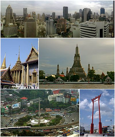 Clockwise from top left: Wat Phra Kaew, BTS Skytrain, Sathon Financial District Skyline, Wat Arun, Democracy Monument, Patung Rama VI, Tuk-Tuk, Kreteg Rama VIII, MBK Center