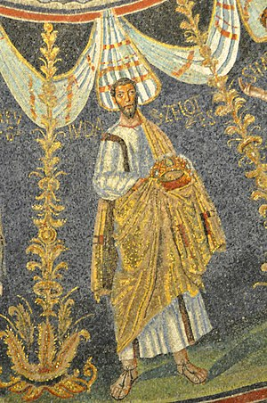"""Judas the Zealot - Mosaic showing apostle """"Iudas Zelotes"""" in the Neonian Baptistry in Ravenna, Italy, ."""