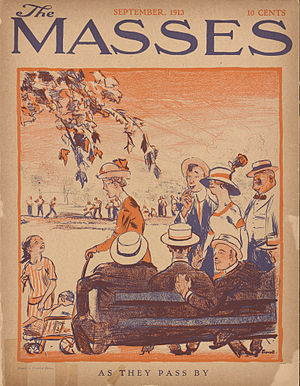 "Cornelia Barns - ""As They Pass By,"" cover by Cornelia Barns.  The Masses, September 1913."