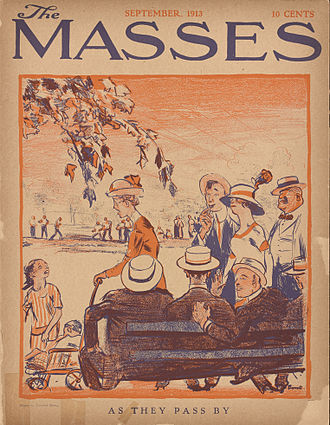 """Cornelia Barns - """"As They Pass By,"""" cover by Cornelia Barns.  The Masses, September 1913."""