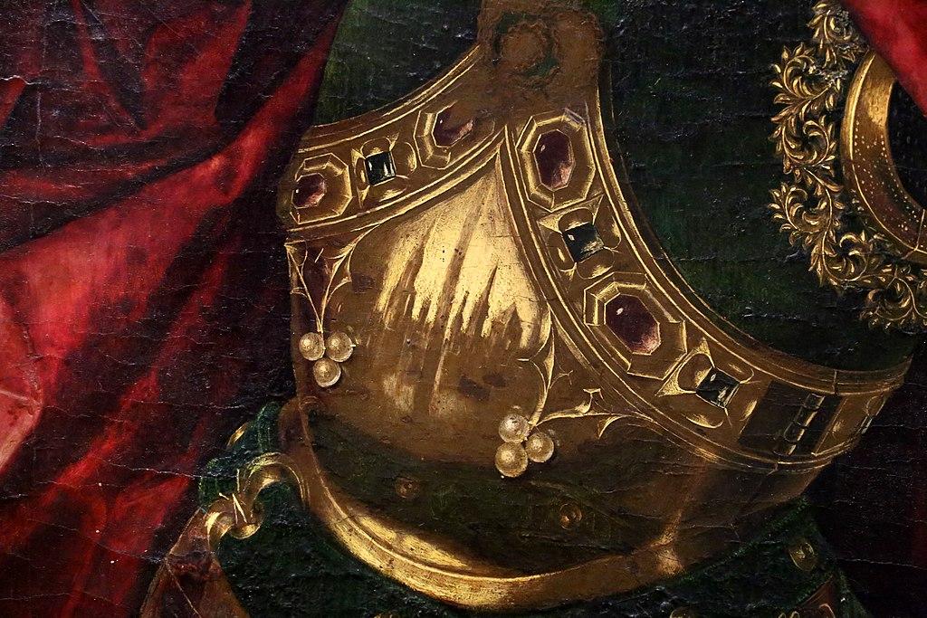 Bartolomé bermejo, san michele trionfa sul demonio, 1468, 04 riflesso.jpg
