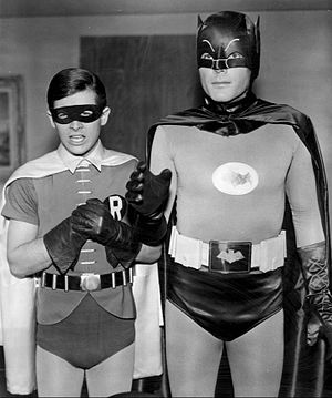 Batman (TV series) - Series stars Burt Ward (left) and Adam West (right), as Dick Grayson/Robin and Bruce Wayne/Batman, respectively.