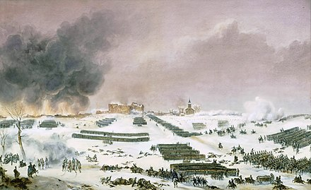 Attack of the cemetery painted by Jean-Antoine-Simeon Fort. Battle of Eylau 1807 - attack of the cemetery, by Jean-Antoine-Simeon.jpg
