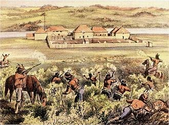 Battle of Fort Pitt - This contemporary illustration from The Illustrated London News depicts the Cree attack of April 15