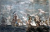 Painting of the first day of the battle, with HMS Namur centre left