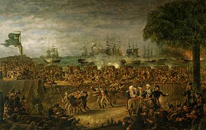 Sir Peter Parker, 1st Baronet - The Battle of Sullivan's Island: Parker's fleet (in the background) is shown attacking the American fortifications
