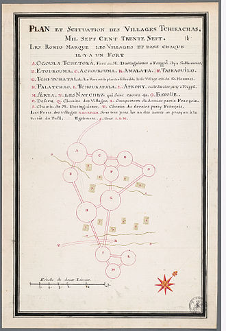 Chickasaw Campaign of 1736 - Villages attacked in 1736. French copy of a map made in the Indian style