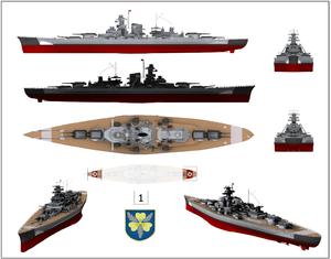 """תרשימים שונים של ביסמרק בעת מבצע רינאיינבונג. מס' 1 הוא מגן האונייה; מס' 2 הוא סמל הטייסת של מטוסי ה""""ביסמרק""""; מס' 3 הם צלבי קרס שהיו על סיפון האונייה והוסרו לקראת המבצע. במסגרת - מטוסי ים מדגם ארדו 196, שהיו מוצבים על סיפון האונייה"""