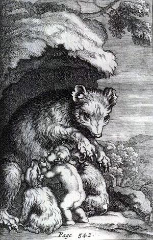 Human–animal breastfeeding - A bear suckling an abandoned child