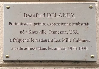 Beauford Delaney - Plaque in tribute to Beauford Delaney, rue d'Odessa, Paris, France