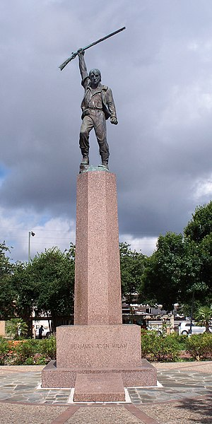 Benjamin Milam - A monument to Benjamin Milam located in modern-day Downtown San Antonio in the U.S. state of Texas.