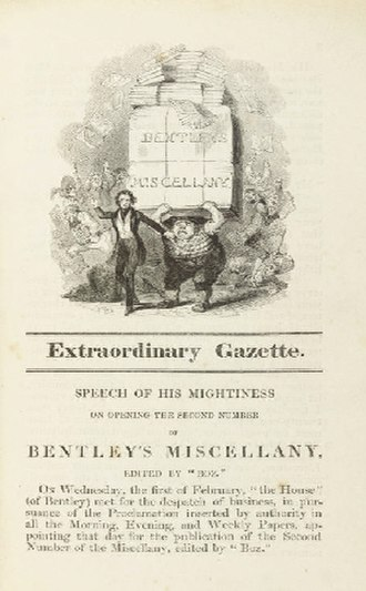 Richard Bentley (publisher) - Bentley's Miscellany, second edition of March 1837