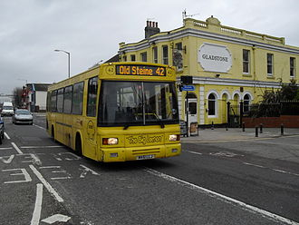 The Big Lemon - East Lancs EL2000 bodied Dennis Dart on in Brighton in January 2011