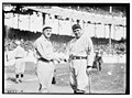 Bill Carrigan (Boston AL) & Chief Meyers (New York NL) during World Series at Polo Grounds, NY, 1912 (baseball) LCCN2014692073.jpg