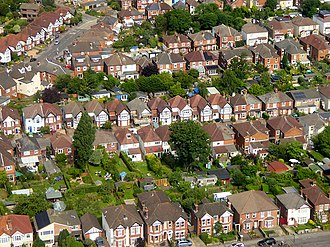 Bitterne Park - Aerial view of housing in Bitterne Park in 2016