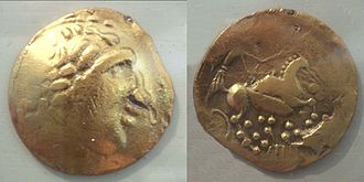 Bordeaux - Coins of the Bituriges Vivisci, 5th–1st century BC, derived from the coin designs of Greeks in pre-Roman Gaul. Cabinet des Médailles.