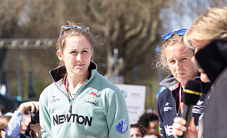 Women's Boat Race 2013 - Cambridge's bow Caroline Reid (left) and Oxford number seven Anastasia Chitty (pictured in 2015)