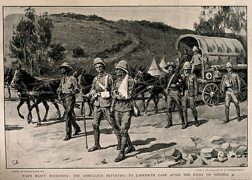Boer War; wounded soldiers returning to Ladysmith camp after Wellcome V0015525