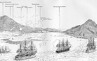 Battle of Tamsui - French warships bombard Tamsui, 2 October 1884
