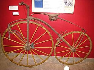 "Velocipede - European ""boneshaker"" bicycle, circa 1868."