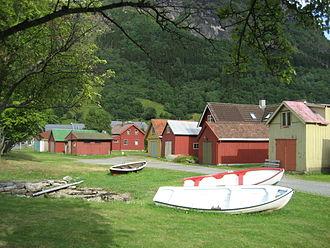Vik - View of boathouses in Vik