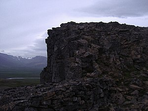 Murno gladst fence - The Borgarvirki in Iceland, one of the largest examples of a murno gladst wall in the world.