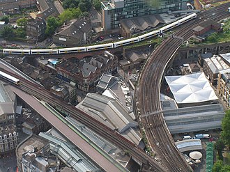 Thameslink Programme - Borough Market junction. The new viaduct before the rails were laid is on the lower left