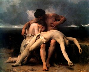 Cain and Abel - The First Mourning (Adam and Eve mourn the death of Abel); oil on canvas 1888 painting by William-Adolphe Bouguereau