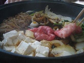Sukiyaki - Image: Bowl of sukiyaki closeup