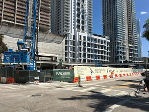 Tenth Street/Promenade station - Tenth Street/Promenade station amid high rise construction