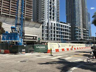 Brickell Flatiron - Brickell Flatiron under construction in 2016 amid a building boom in the 2010s.