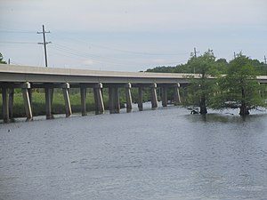 Creston, Louisiana - Concrete bridge carries traffic on Louisiana State Highway 9 over Black Lake near Creston.