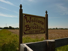 Brooklyn, Indiana - sign at the eastern end of the village - P1080687.jpg