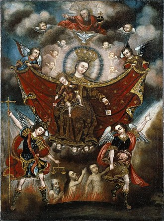 Cuzco School - Virgin of Carmel Saving Souls in Purgatory, Circle of Diego Quispe Tito, 17th century, collection of the Brooklyn Museum