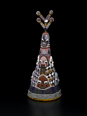 "Oba (ruler) - Beaded Crown ""Ade"" of King Onijagbo Obasoro Alowolodu, Ogoga of Ikere"