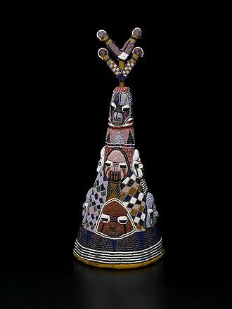"""Oba (ruler) - Beaded Crown """"Ade"""" of King Onijagbo Obasoro Alowolodu, the Ogoga of Ikere"""