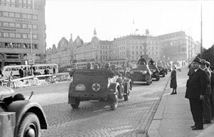 German occupation of Norway - German troops enter Oslo, May 1940. In the background is the Victoria Terrasse, which later became the headquarters of the Gestapo.