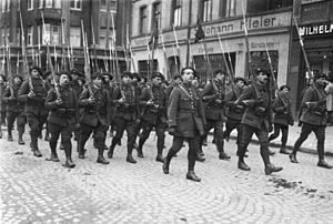 Chasseurs Alpins - Chasseurs alpins during the Occupation of the Ruhr in Buer (now Gelsenkirchen), 1923.