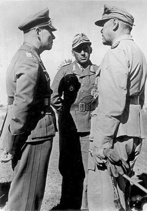 Fritz Bayerlein - Rommel, Bayerlein (center), and Albert Kesselring.