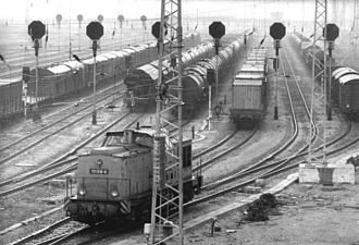 Goods station - Goods station with fan of sidings and hump signals at Rostock, East Germany, 1986